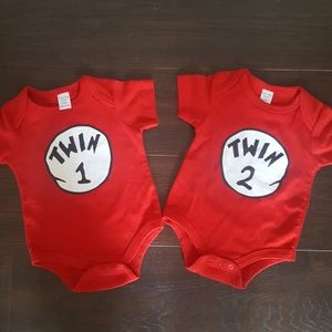 Other - Twin 1 and Twin 2 Onesies NWOT